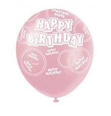 Ballons roses violets et blancs Happy Birthday