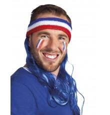 Bandeau mulet avec cheveux bleus supporter France adulte