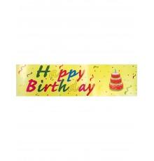 Banderole happy birthday fond jaune 0.16x2.44m