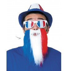 Barbe supporter tricolore France adulte