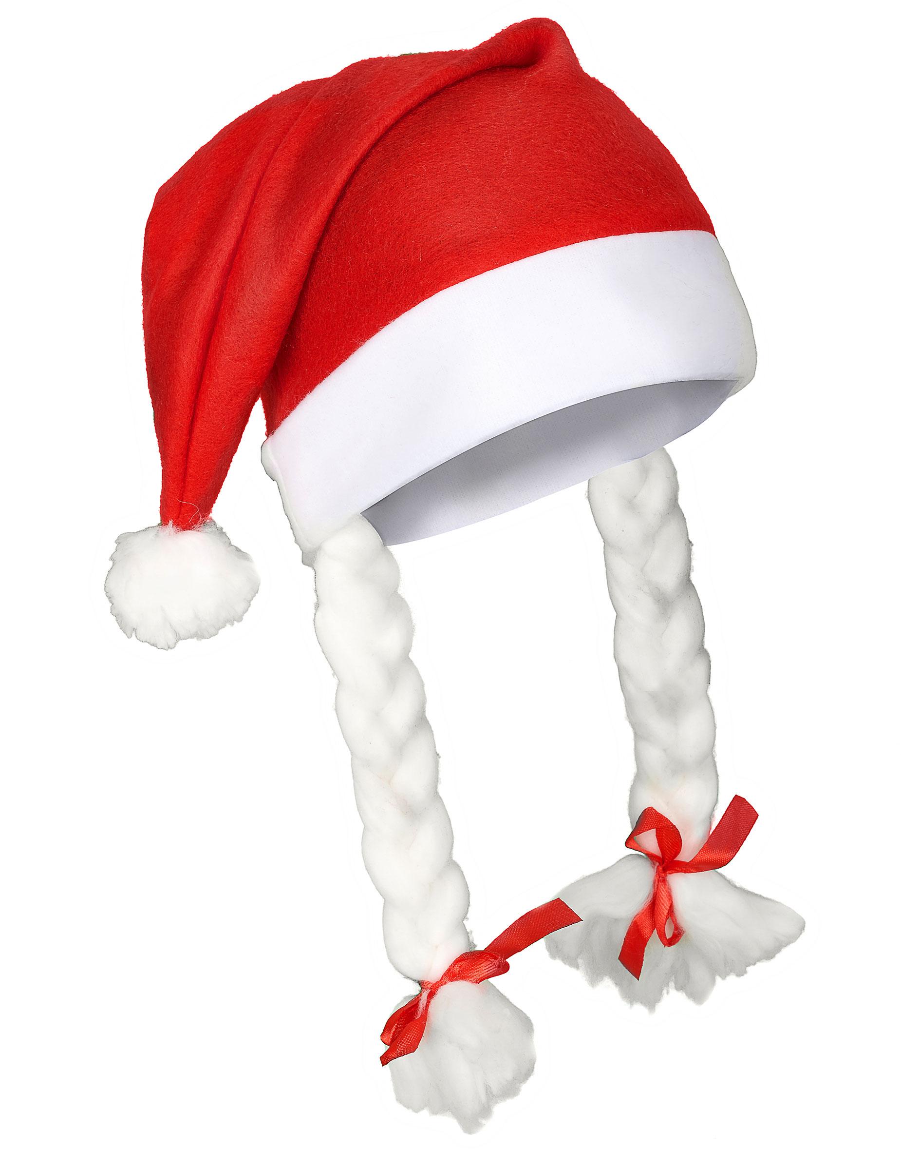 Bonnet de Noël avec deux tresses