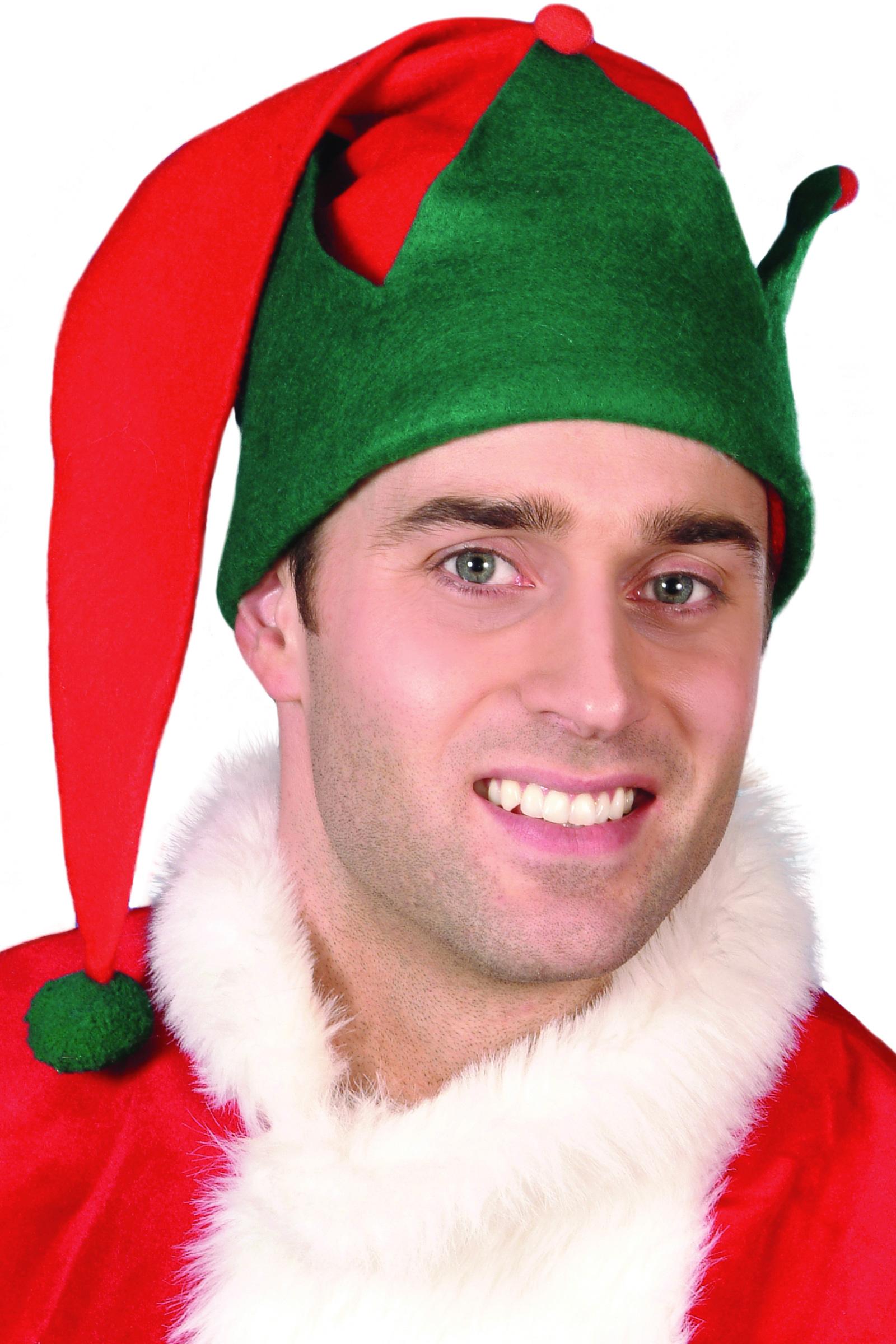 Bonnet elfe rouge et vert pour adulte