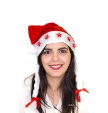Bonnet de Noël avec étoiles rouges lumineuses