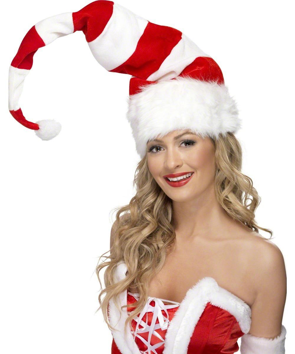Bonnet de Noël à Rayures rouge et Blanc