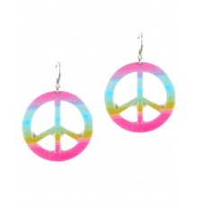 Boucles d'oreilles symbole peace & love multicolores