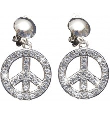 Paire de Boucles d'Oreilles Peace and Love à Strass