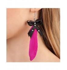 Boucles d'oreilles plume rose adulte
