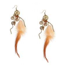 Boucles d'oreilles plumes adulte Steampunk