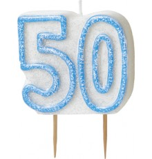 Bougie Age 50 ans bleu