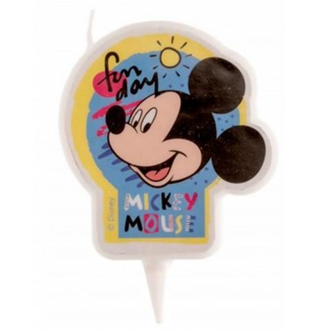 Bougie ronde à l'effigie de Mickey et Minnie 7,5 cm