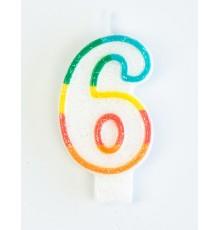 Bougie d'anniversaire chiffre 6 7,5 cm
