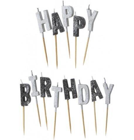 Bougie Happy Birthday grises