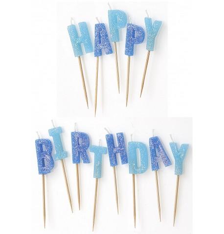 Bougies Happy Birthday bleues