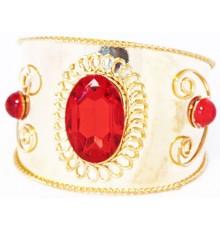 Bracelet oriental doré avec strass rouge
