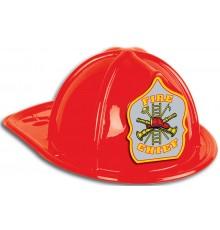 Casque de pompier rouge en plastique