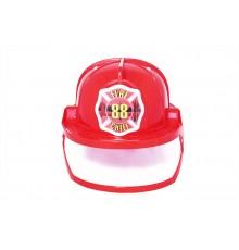 Casque pompier rouge avec visière adulte