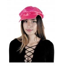 Casquette à sequins rose fluo femme