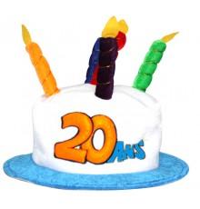 Chapeau Gâteau d'Anniversaire 20 ans