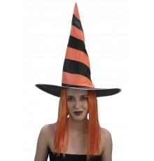 Chapeau avec Perruque de Sorcière Orange