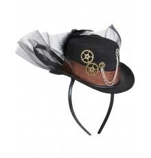Chapeau Steampunk avec Voile Noir
