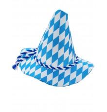 Chapeau bavarois motif arlequin bleu et blanc