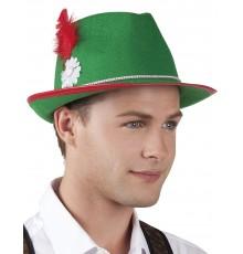 Chapeau bavarois feutrine vert avec plume rouge