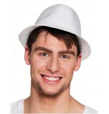 Chapeau borsalino en tissu satiné blanc avec sequins