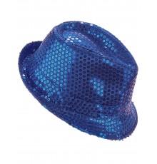 Chapeau borsalino à sequins bleu foncé adulte