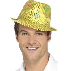 Chapeau borsalino doré à sequins avec LED adulte