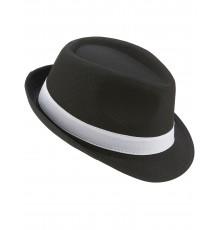Chapeau borsalino noir luxebande blanche adulte