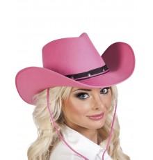 Chapeau cowboy rose et noir adulte
