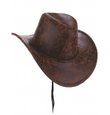 Chapeau de cowboy marron imitation cuir adulte