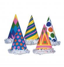 Chapeau de fête en carton coloré aléatoire 16 x 10 cm
