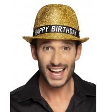 Chapeau happy birthday pailletté doré adulte