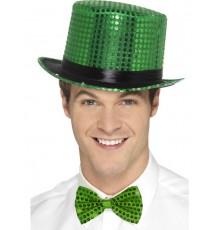 Chapeau haut de forme à sequins vert avec ruban noir adulte