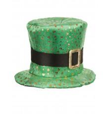 Chapeau haut de forme Saint Patrick trèfles dorés Adulte