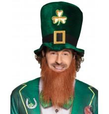 Chapeau haut de forme trèfle doré adulte avec barbe Saint Patrick