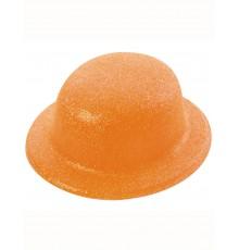 Chapeau melon pailletté orange adulte