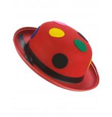 Chapeau melon rouge clown à pois adulte