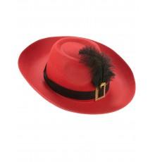 Chapeau de Mousquetaire Rouge pour Adulte