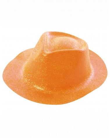 Chapeau pailleté orange adulte