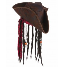 Chapeau pirate marron avec perruque adulte