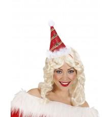 Chapeau pointu rouge avec houx adulte Noël