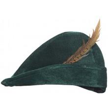 Chapeau de Robin des Bois en Tissu Vert avec Plume