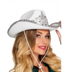 Chapeau princesse cowboy blanc femme