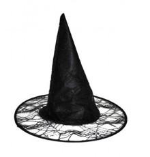 Chapeau de Sorcière Noir à Motif Toile d'Araignée