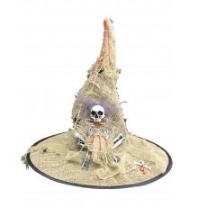 Chapeau sorcière toile de jute lumineux adulte Halloween