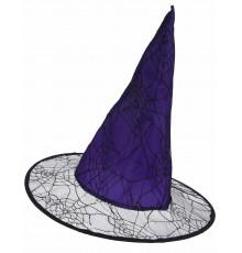 Chapeau sorcière violet toile araignée adulte