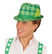 Chapeau Tartan Vert avec Motif Trèfle