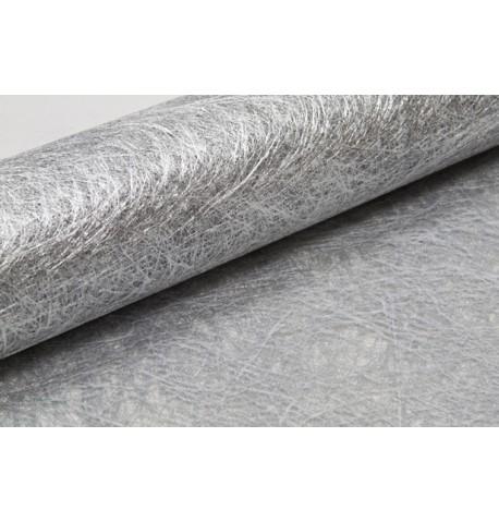 Chemin de table intissé métallisé argenté 5 m